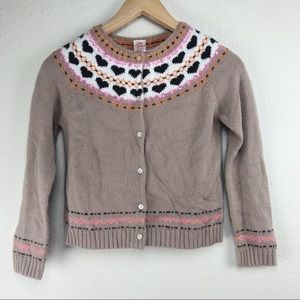 Girls 7/8 Knit Hearts Print Cardigan Sweater